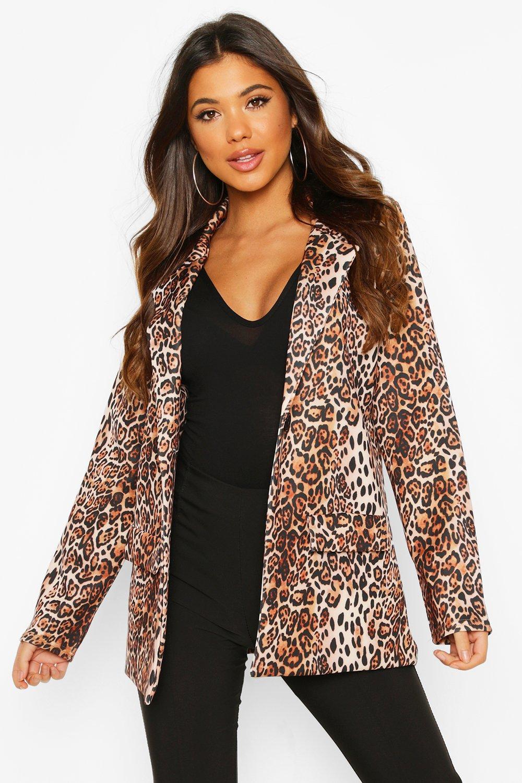 boohoo Womens Leopard Pocket Front Blazer - Multi - 14, Multi