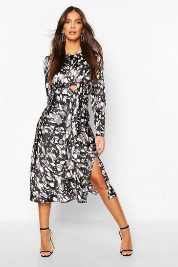 Black Leopard Print Tie Detail Satin Midi Dress