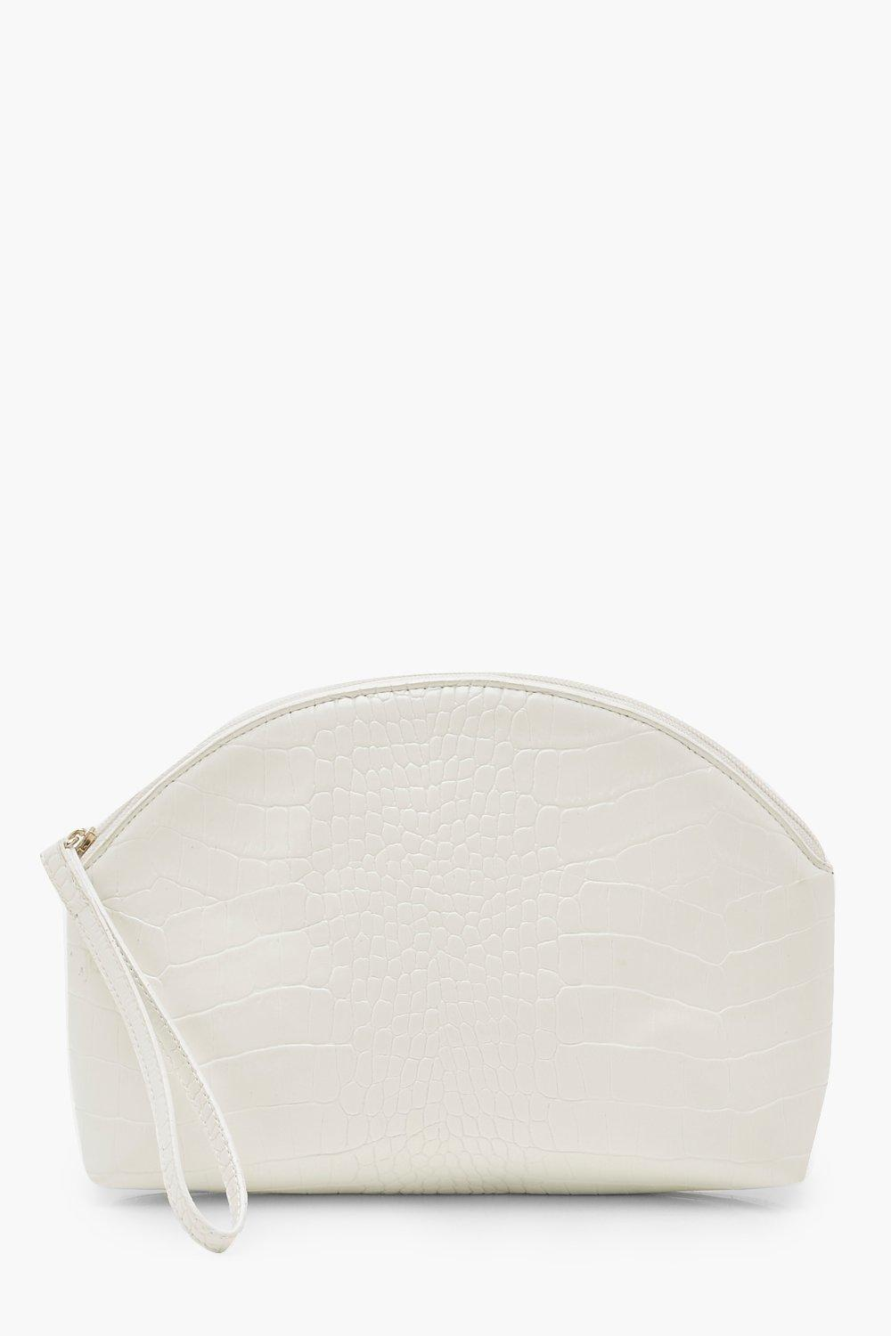 boohoo Womens Croc Half Moon Zip Top Pouch & Handle Bag - White - One Size, White