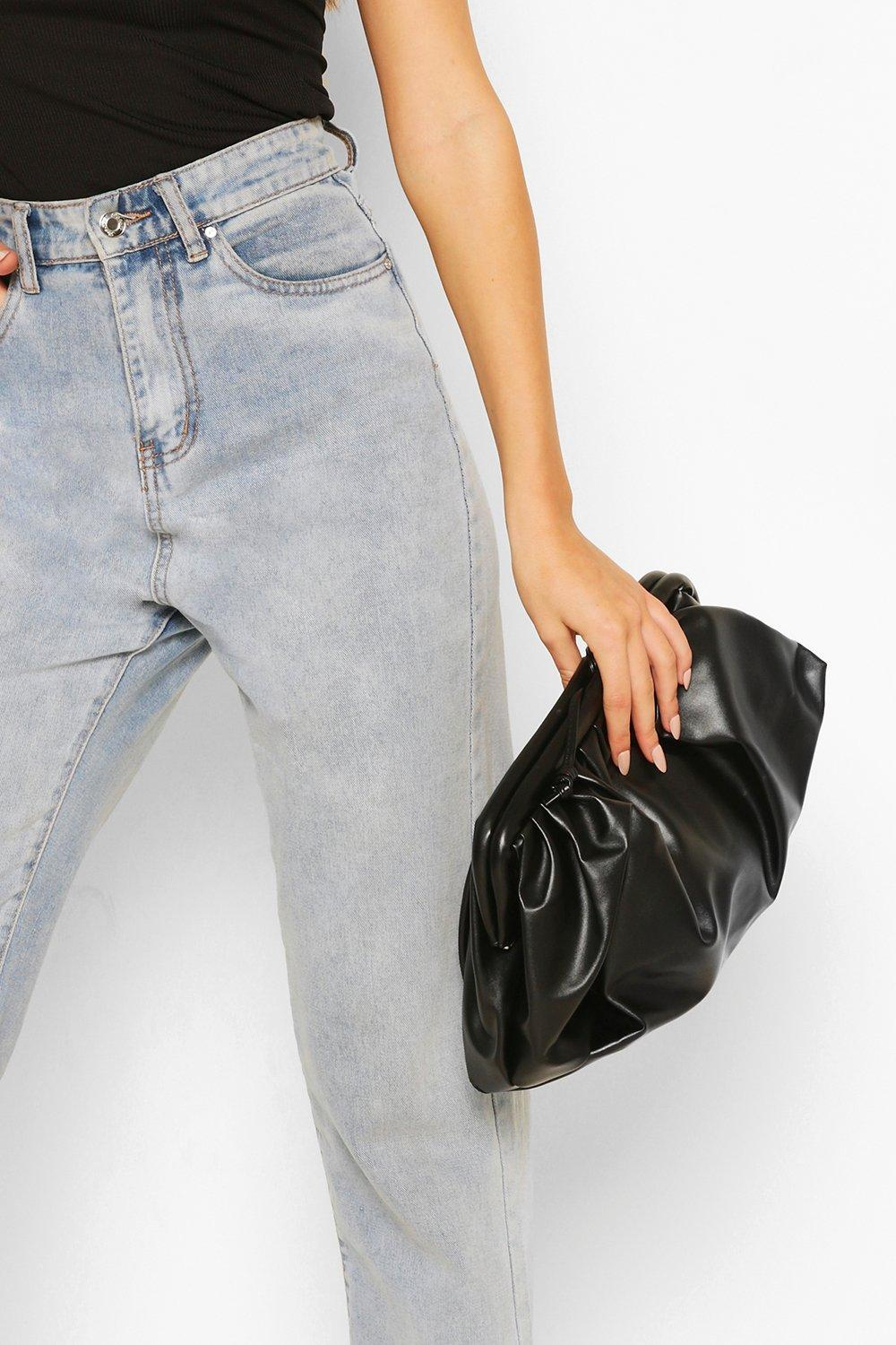 boohoo Womens Slouchy Oversized Pu Clutch & Strap Bag - Black - One Size, Black
