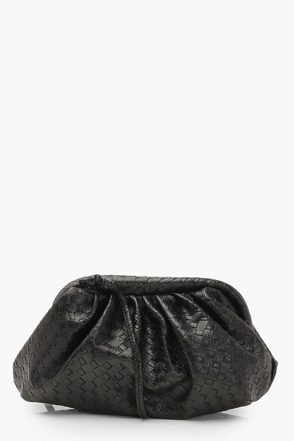 boohoo Womens Slouchy Mini Weave Clutch Bag - Black - One Size, Black