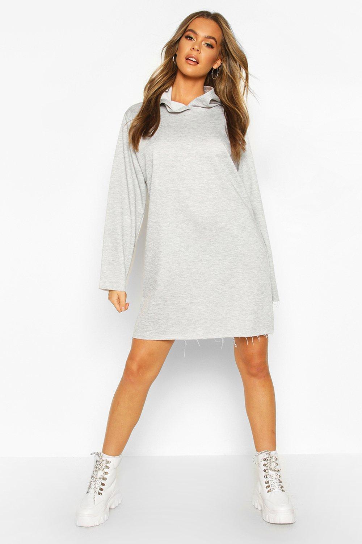 Womens True Oversized Hoodie-Kleid - Grau meliert - 34, Grau Meliert - Boohoo.com
