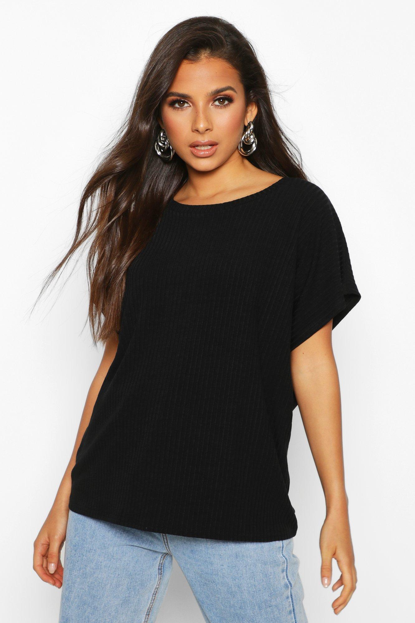 Womens Weich geripptes Oversized T-Shirt - schwarz - 32, Schwarz - Boohoo.com