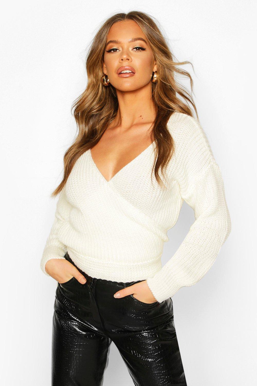 Womens Pullover Im Wickeldesign - Creme - L, Creme - Boohoo.com