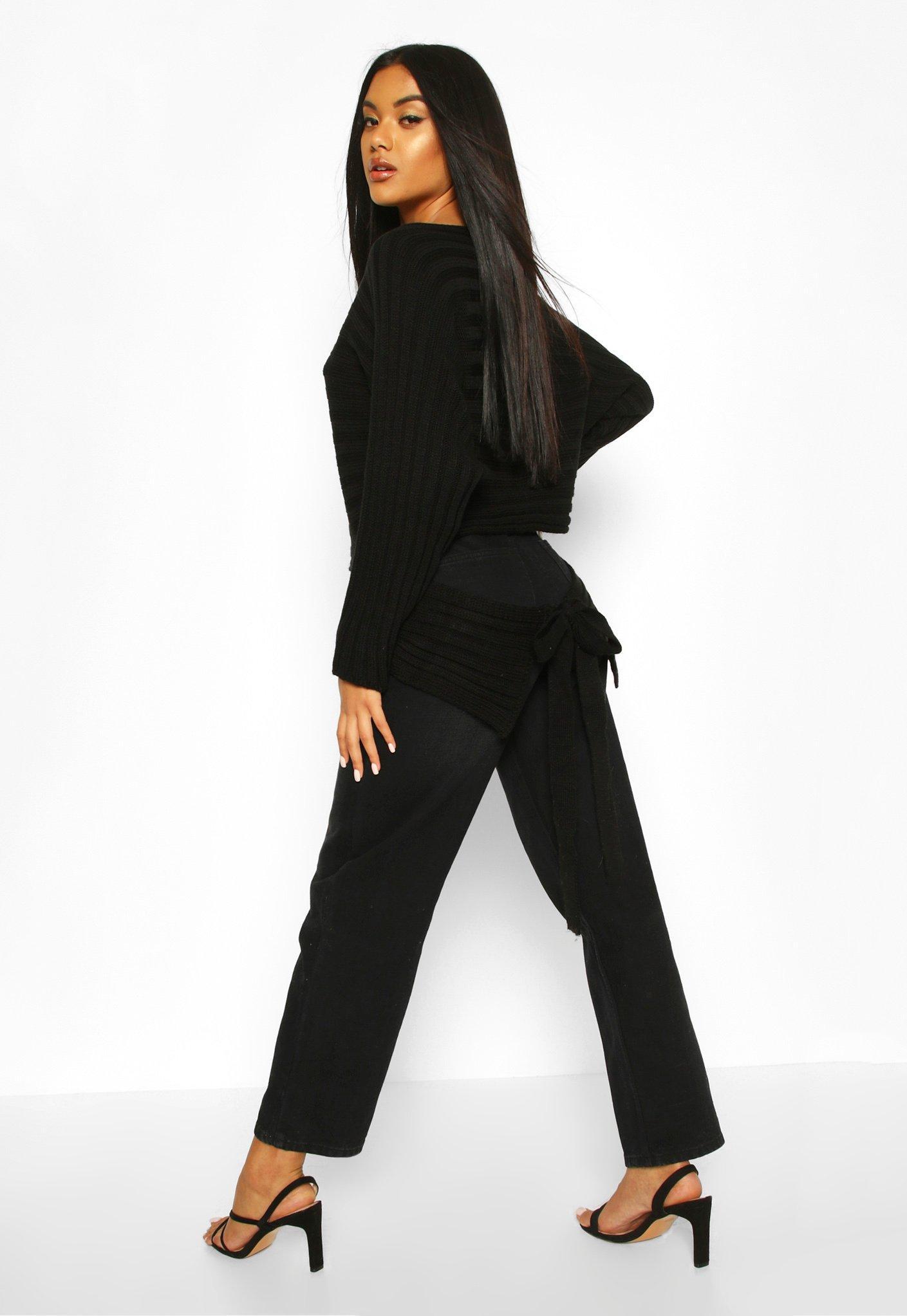 Womens Rippstrick-Pullover mit Taillenbindung und Fledermausärmeln - schwarz - S/M, Schwarz - Boohoo.com