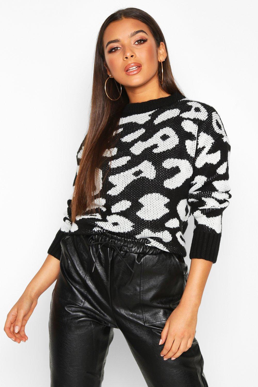 Womens Pullover mit Animal- und Leopardenmuster - schwarz - S, Schwarz - Boohoo.com