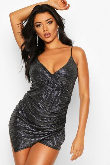 Black Glitter Ruched Wrap Skort Playsuit