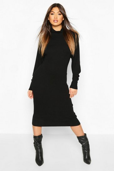 Camel Roll Neck Knitted Midi Dress