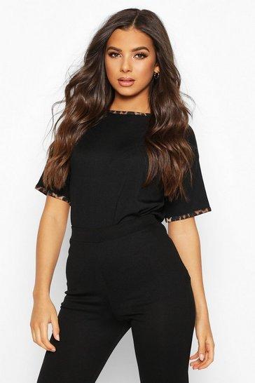 Black Rib Leopard Ringer T-Shirt
