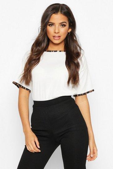 White Rib Leopard Ringer T-Shirt