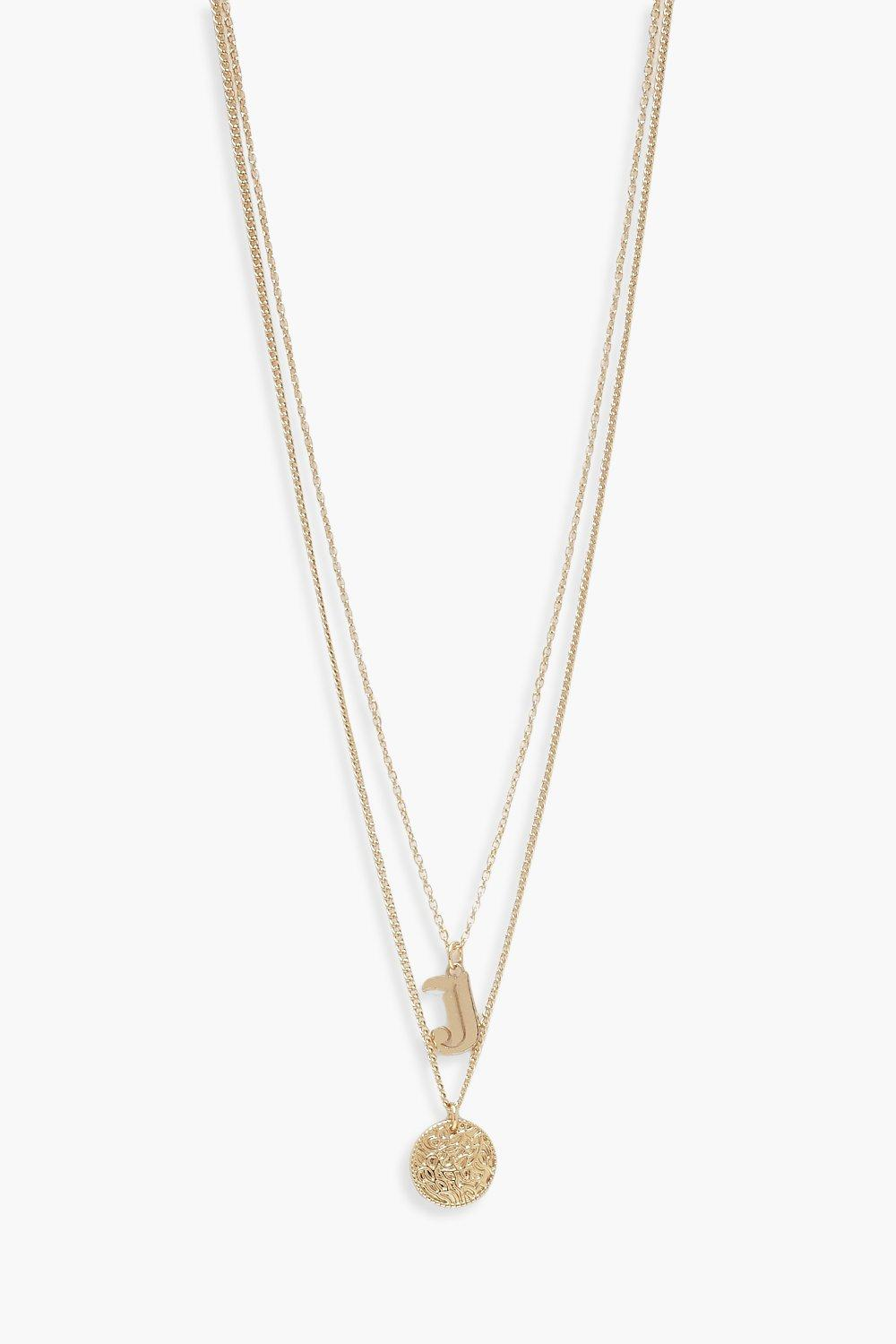 boohoo Womens J Initial & Circle Layered Necklace - Metallics - One Size, Metallics