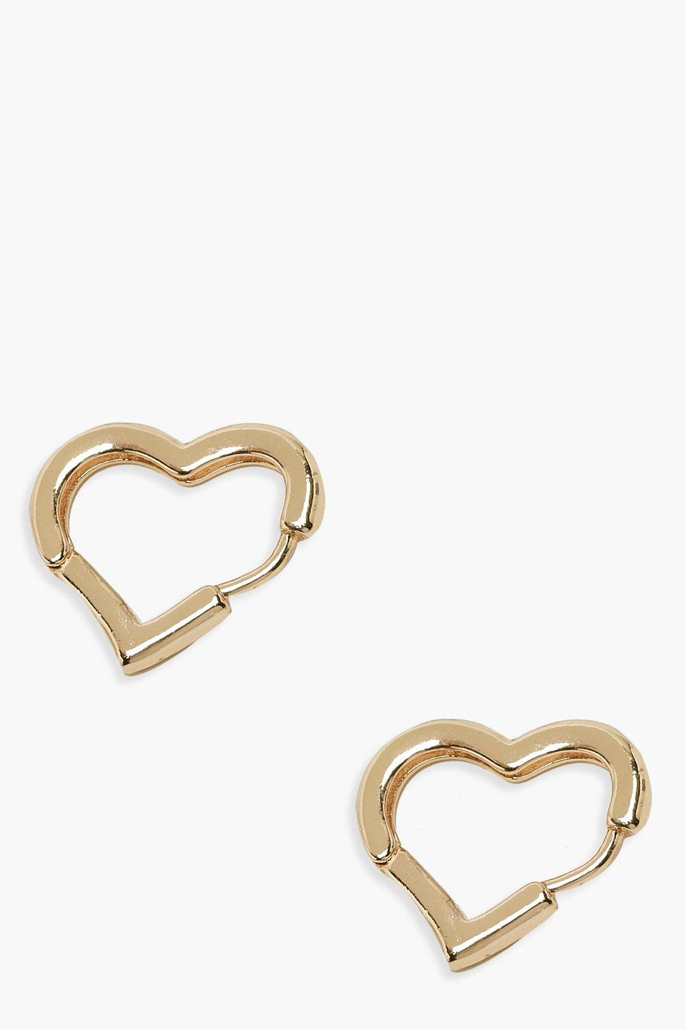 boohoo Womens Plain Heart Huggie Earrings - Metallics - One Size, Metallics