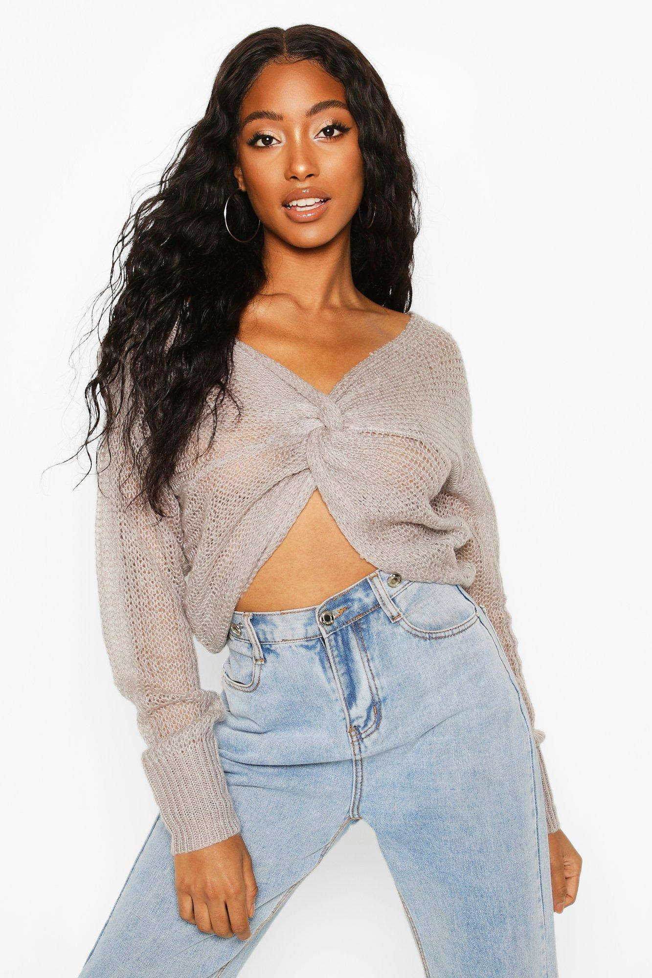 Cropped Jumpers Loose Knit Twist Cropped Jumper