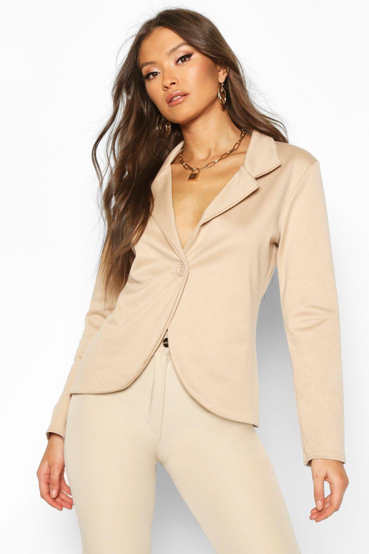 boohoo Womens Button Front Blazer - Beige - 12, Beige