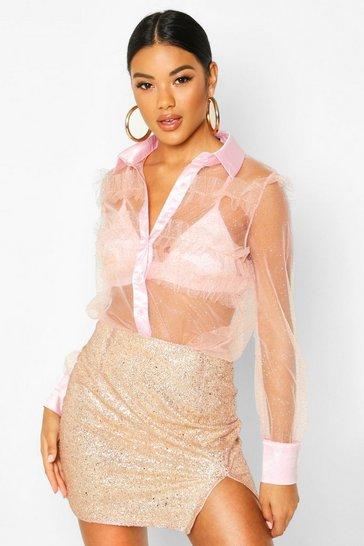 Pink Glitter Organza Mesh Frill Shirt