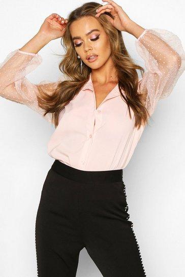 Pink Organza Spot Mesh Sleeve Shirt
