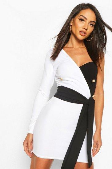 White Contrast Button Down Blazer Dress