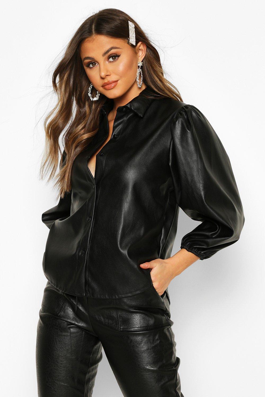 Womens Hemd aus PU mit extremen Puffärmeln - schwarz - 34, Schwarz - Boohoo.com