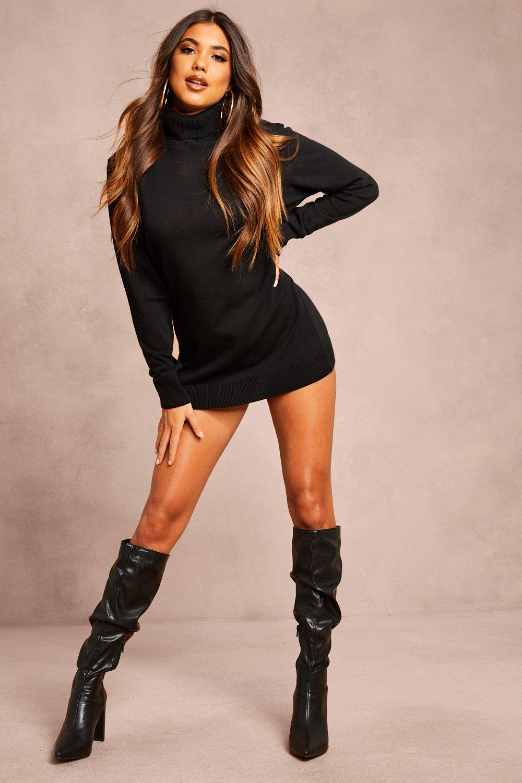 Womens Recycled Roll Neck Jumper Dress - black - 18/20, Black - Boohoo.com