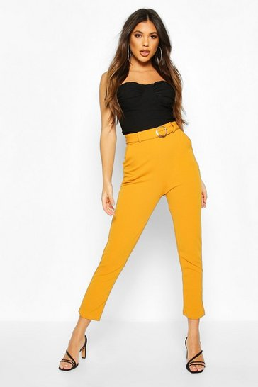 Mustard Gold O Ring Belted Skiny Trousers