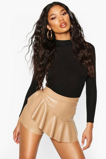 Camel Leather Look Ruffle Hem Skort