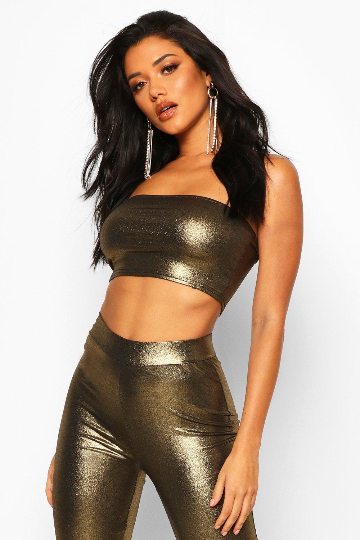 Womens Bandeau Crop Top in Metallic-Optik - Gold - 36, Gold - Boohoo.com