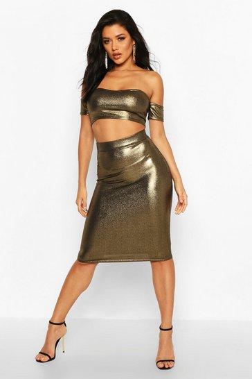 Gold Metallic Bodycon Midi Skirt