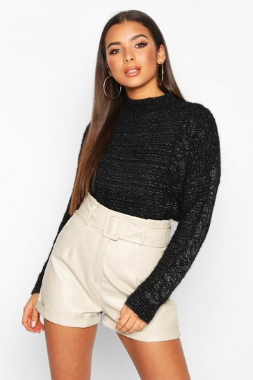 Black Fluffy Cable Knit Jumper