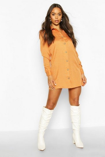 Camel Spot Button Through Shirt Dress