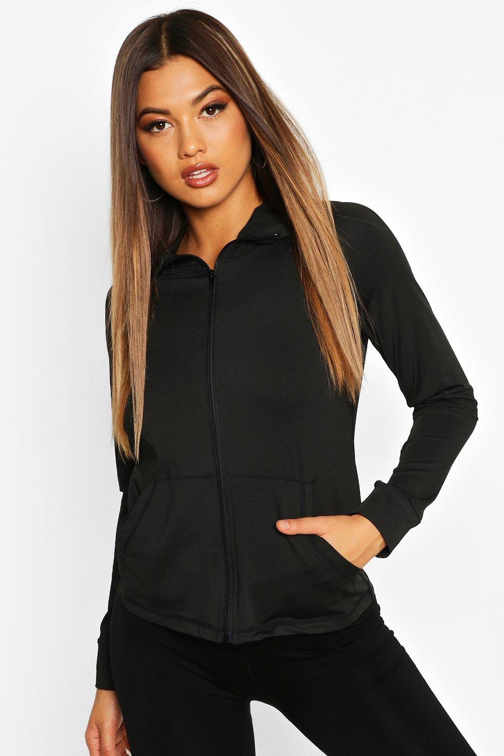 boohoo Womens Fit Long Sleeve Zip Up Hooded Gym Jacket - Black - 12, Black