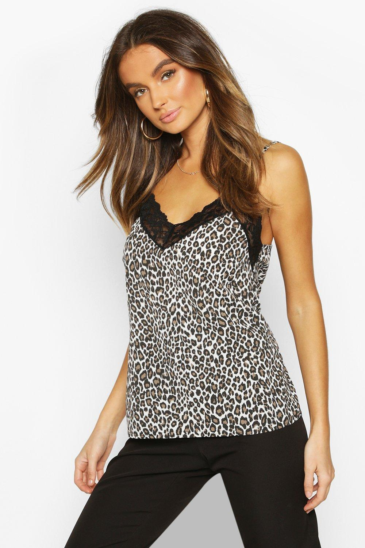 SALE Leopard Print Lace Trim Cami