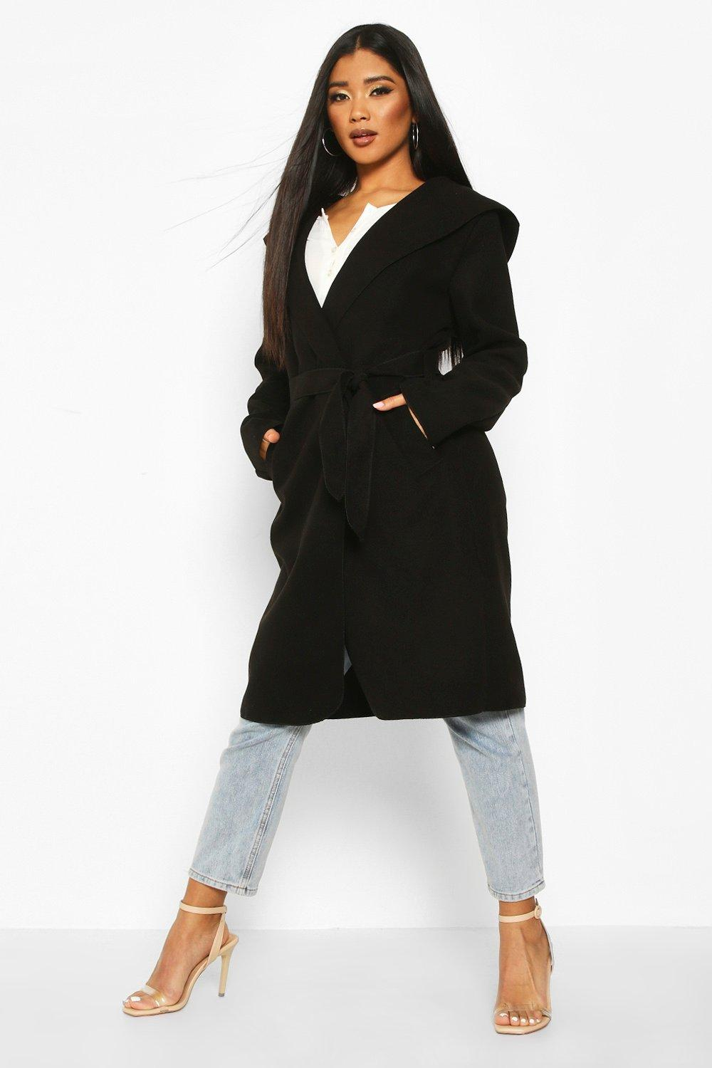 boohoo Womens Hooded Belted Shawl Coat - Black - 14, Black