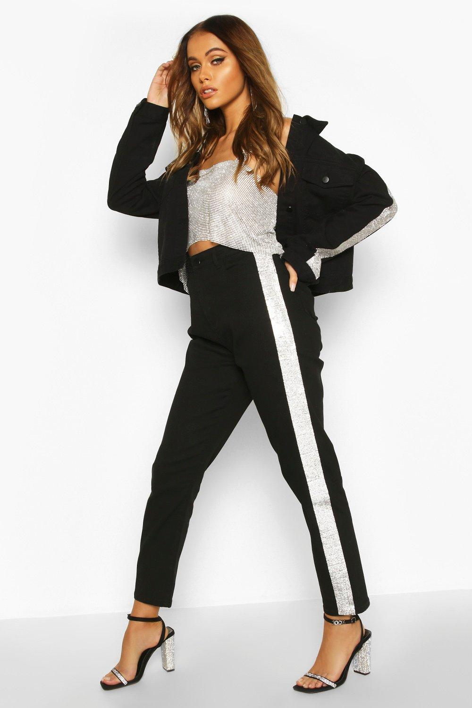 SALE Rhinestone Diamante Stripe High Waist Skinny Jean