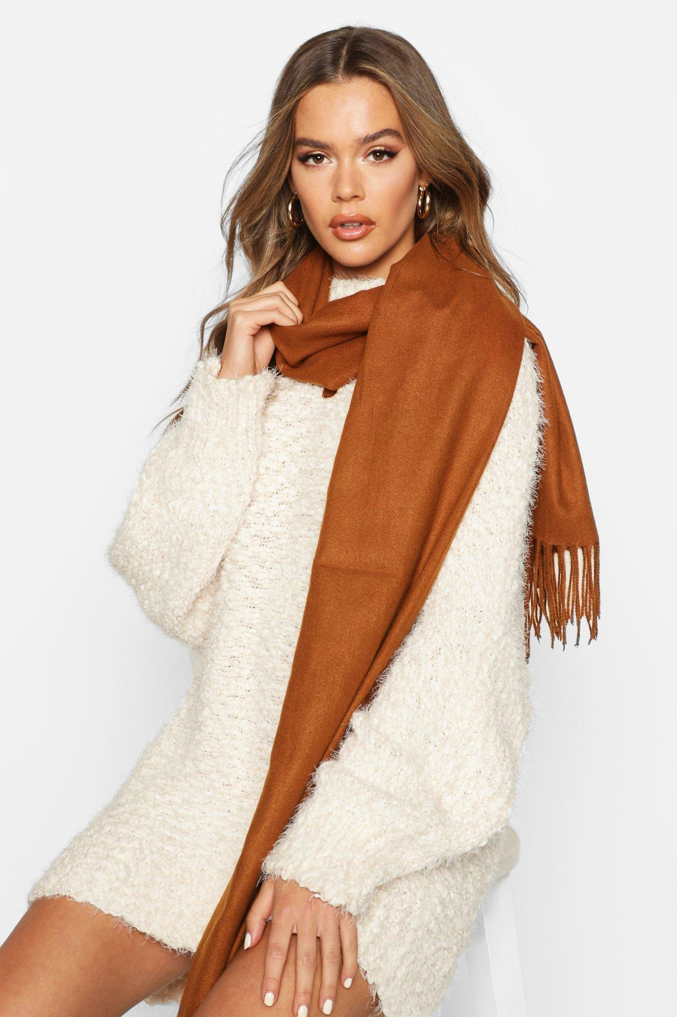 boohoo Womens Brushed Fringe Scarf - Brown - One Size, Brown