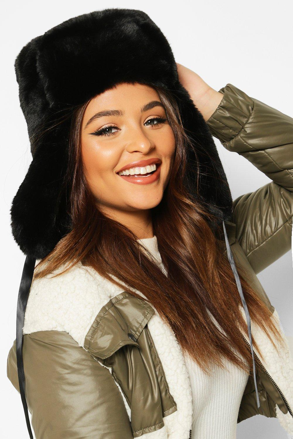 boohoo Womens Faux Fur Trapper Hat - Black - One Size, Black