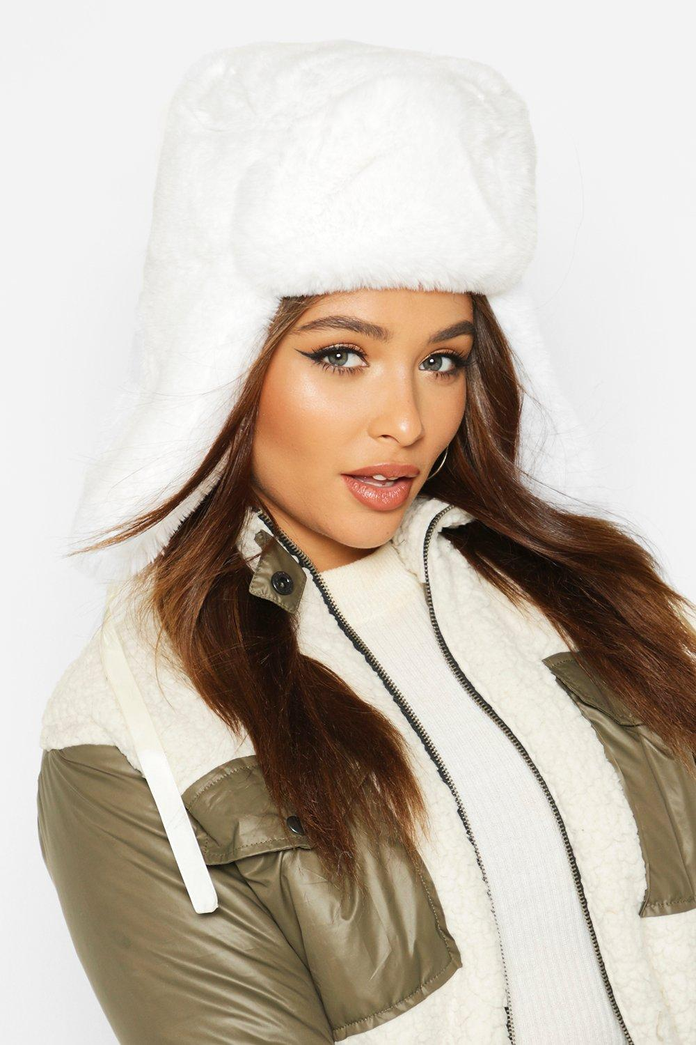 boohoo Womens Faux Fur Trapper Hat - White - One Size, White