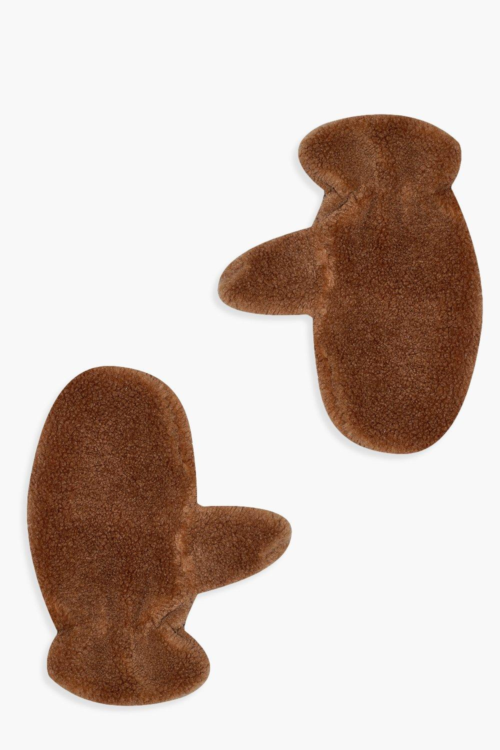 boohoo Womens Teddy Borg Mittens - Brown - One Size, Brown