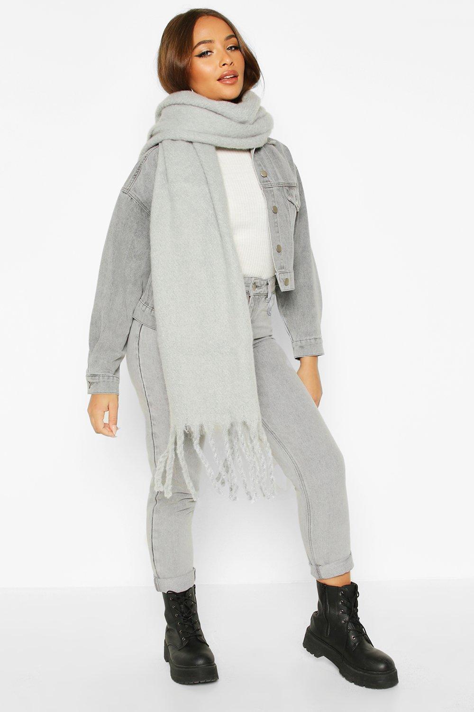 boohoo Womens Chunky Oversized Fringe Scarf - Grey - One Size, Grey