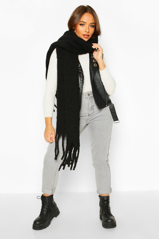 boohoo Womens Chunky Oversized Fringe Scarf - Black - One Size, Black