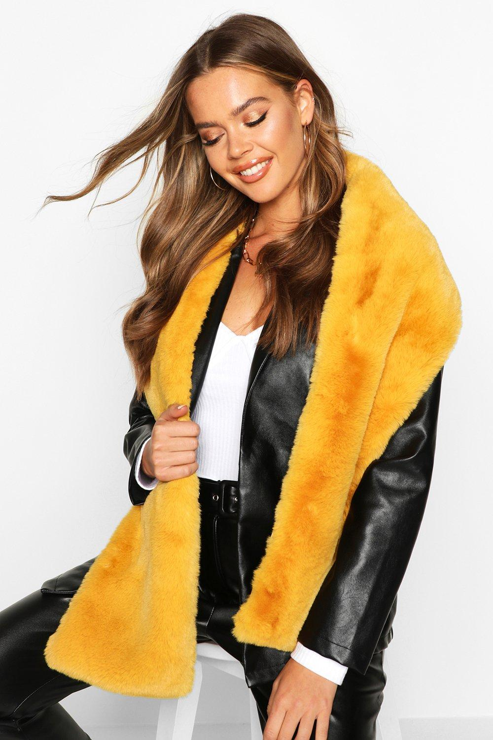 boohoo Womens Faux Fur Long Scarf - Yellow - One Size, Yellow