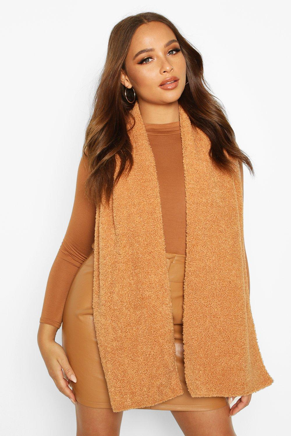 boohoo Womens Teddy Borg Scarf - Brown - One Size, Brown