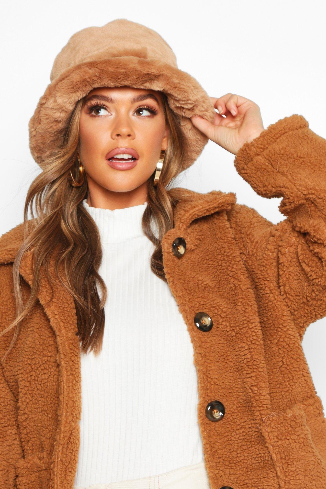 boohoo Womens Faux Fur Bucket Hat - Beige - One Size, Beige
