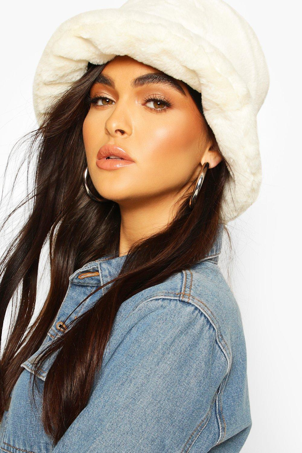 boohoo Womens Faux Fur Bucket Hat - White - One Size, White