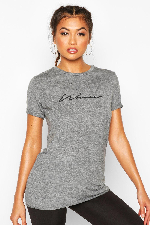 "Womens Fit Fitness-T-Shirt mit ""Woman""-Slogan - anthrazit - 34, Anthrazit - Boohoo.com"
