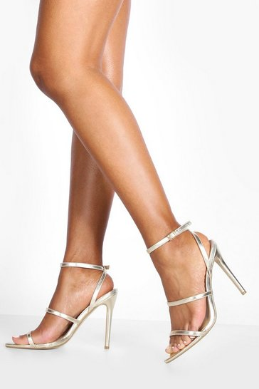 Gold Triple Band Pointed Toe Stiletto Heels
