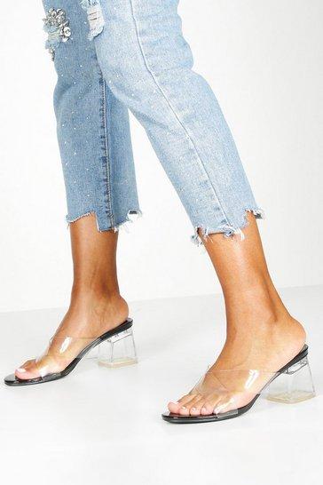 Black Clear Low Block Heel Mules