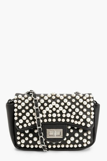 Black Multi Pearl & Lock Cross Body Bag