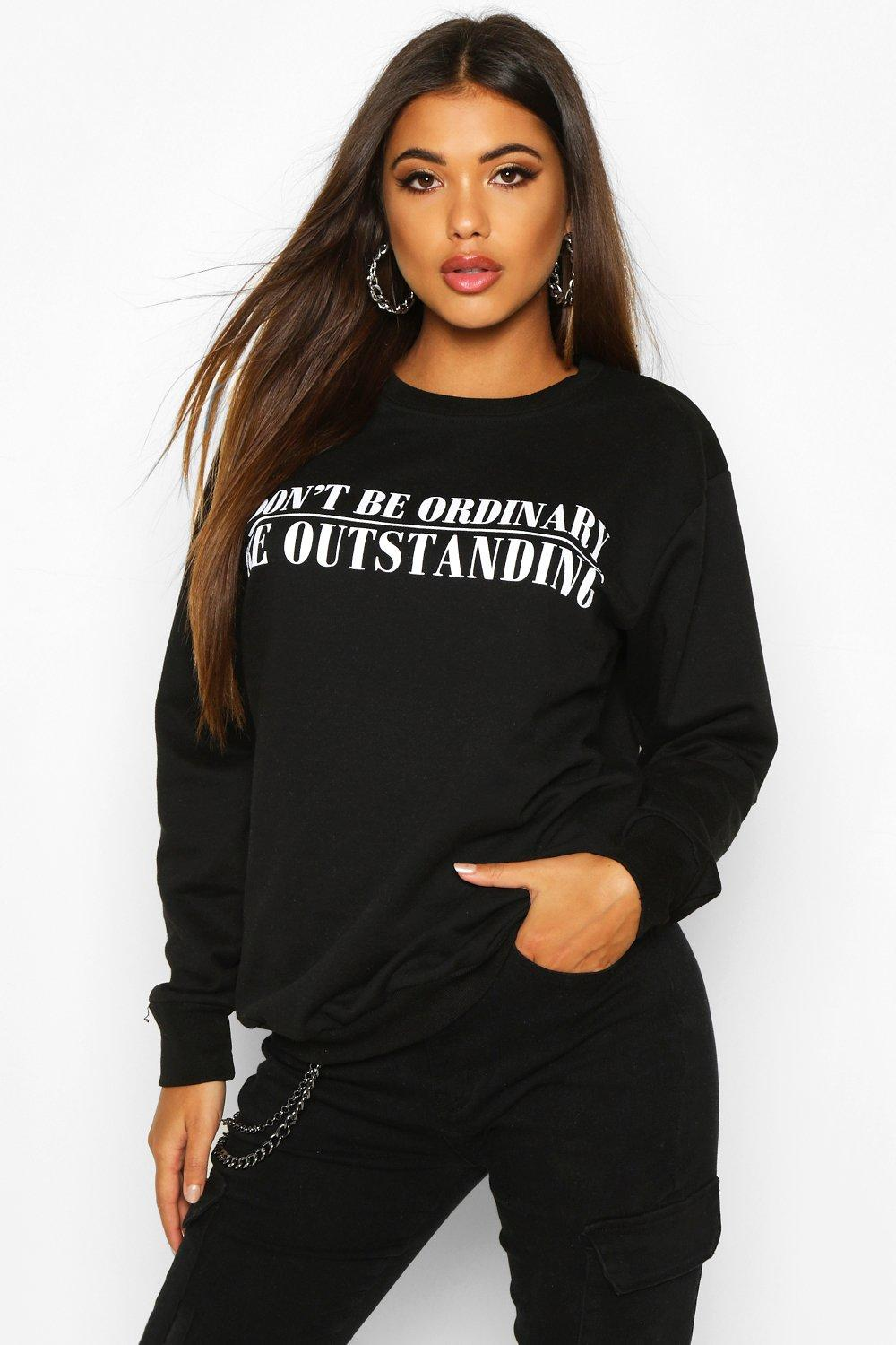 "Womens Pullover mit ""Don't Be Ordinary""-Print - schwarz - S, Schwarz - Boohoo.com"