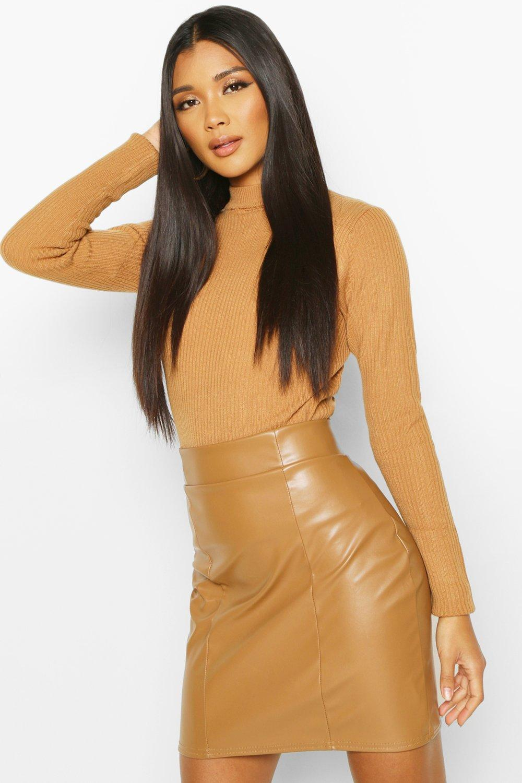 Mini Skirts Leather Look Seam Front Mini Skirt