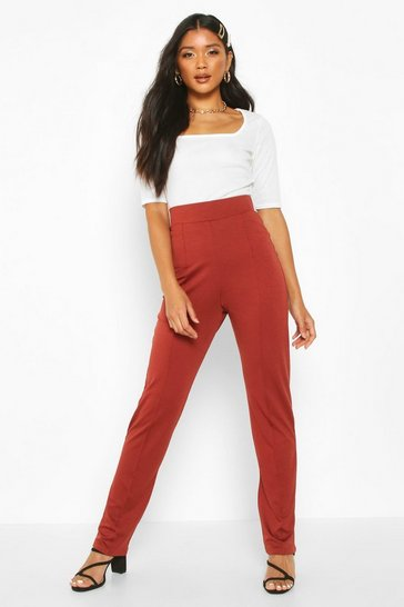 Berry Recycled Pin Tuck Detail Straight Leg Trouser